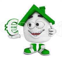 Kleines 3D Haus Grün - Euro Symbol