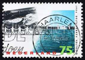Postage stamp Netherlands 1986 Barrier Withstanding Flood