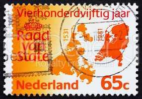 Postage stamp Netherlands 1981 Maps of Netherlands