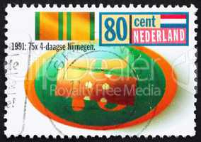 Postage stamp Netherlands 1991 Nijmegen Four Days Marches