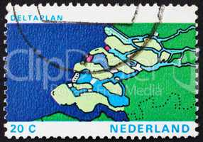 Postage stamp Netherlands 1972 Map of Delta, Delta Plan