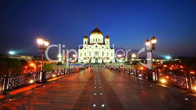 Orthodox Cathedral of Christ Savior at night, Moscow, Russia