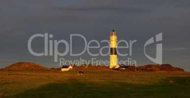 Panorma Leuchturm in Kampen auf Sylt Sonnenuntergang mit Gewitterstimmung