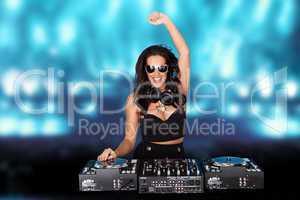 Jubilant sexy female disc jockey