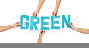 Turquoise alphabet lettering spelling GREEN
