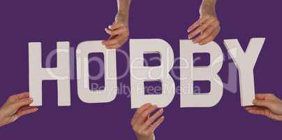 White alphabet lettering spelling HOBBY