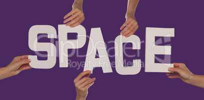 White alphabet lettering spelling SPACE