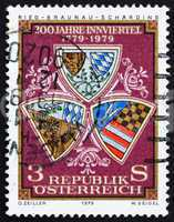 Postage stamp Austria 1979 Arms of Ried, Scharding and Braunau