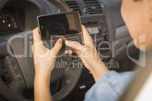 Mixed Race Woman Texting and Driving