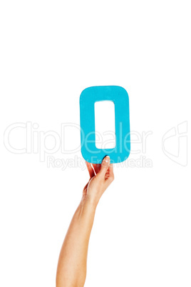 hand holding up the number zero from the bottom;