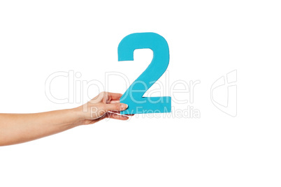 hand holding up the number two from the left