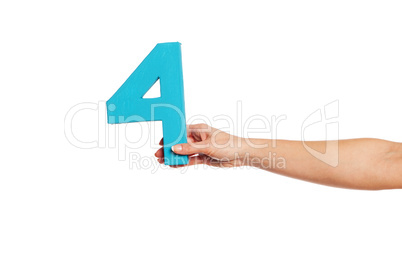 hand holding up the number four from the right