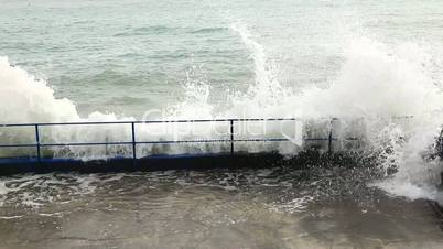 Waves beat against the shore