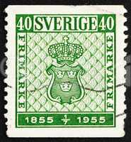 Postage stamp Sweden 1955 Coat of Arms