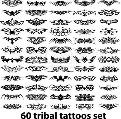 60 tribal tattoo set