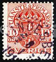 Postage stamp Sweden 1910 Arms of Sweden, Official Stamp