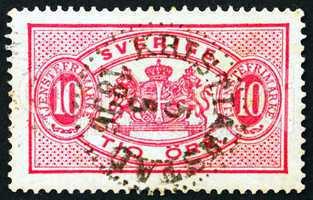 Postage stamp Sweden 1895 Arms of Sweden, Official Stamp