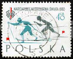 Postage stamp Poland 1962 Woman Skiers