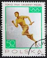 Postage stamp Poland 1965 Relay Race, Silver Medal by Poland Tok