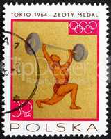 Postage stamp Poland 1965 Weight Lifting, Gold Medal by Poland T