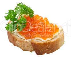 Sandwiches with red caviar on white background