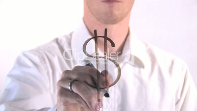 Dollar Sign Written on Glass