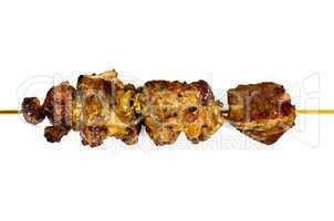Shish kebab on a wooden skewer