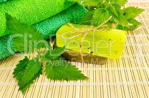 Soap homemade green with nettles