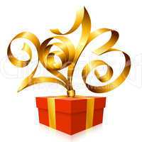 Vector gold ribbon in the shape of 2013 and gift box.