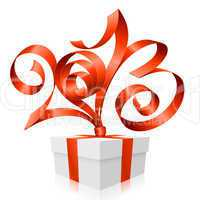 Vector red ribbon in the shape of 2013 and gift box.