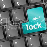 lock written in white on blue computer keys