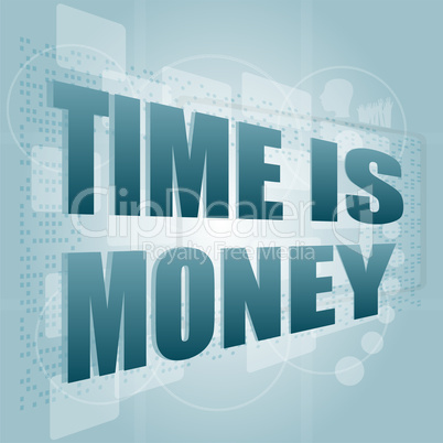 words Time is money on digital screen, time concept