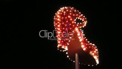 Lit up high heel shoe in Las Vegas