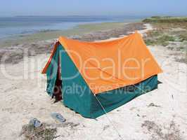 Double tent on a gulf in the afternoon