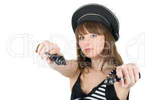 Portrait of the pretty sailor with pistols. Isolated