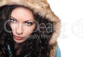 Closeup portrait of pretty young brunette