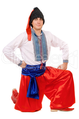 Guy in the Ukrainian national costume. Isolated