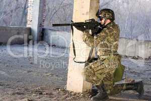 Armed man aiming
