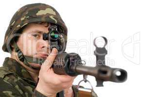 Armed soldier keeping svd