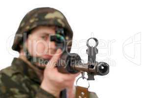 Armed soldier holding svd