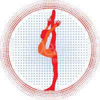 Young cute girl- gymnast  show  skill , vector silhouette