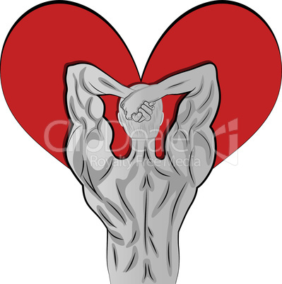 Man body shaped as heart for valentine day