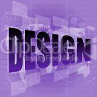 words design on digital screen, information technology concept