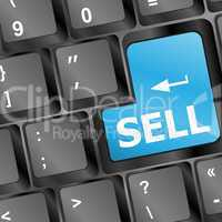 sell written on keyboard showing business or finance concept