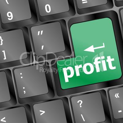 Profit key showing returns for internet businesses