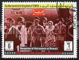 Postage stamp Yemen 1969 Reception of Astronauts, Apollo XIII