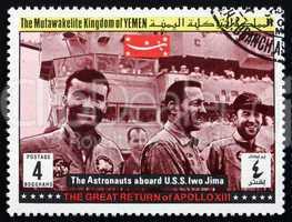 Postage stamp Yemen 1969 aboard Ship Iwo Jima, Apollo XIII