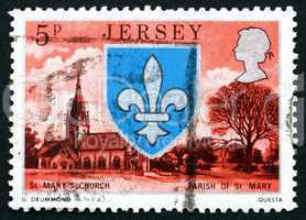 Postage stamp Guernsey 1976 Arms and St. Mary Church