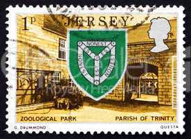 Postage stamp Guernsey 1976 Arms of Trinity and Zoo