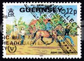 Postage stamp Guernsey 1995 Riding for the Disabled